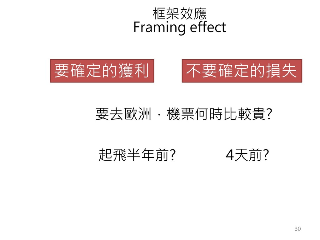 框架效應 Framing effect 要確定的獲利 不要確定的損失 要去歐洲,機票何時比較貴...