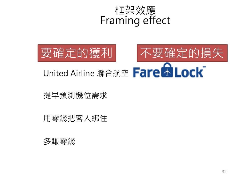 框架效應 Framing effect 要確定的獲利 不要確定的損失 United Airli...