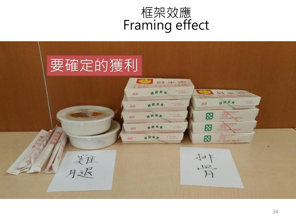框架效應 Framing effect 要確定的獲利 34