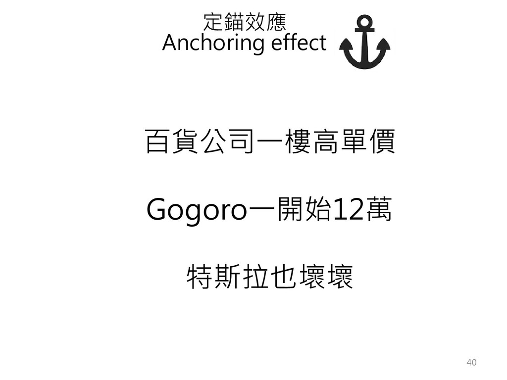 百貨公司一樓高單價 Gogoro一開始12萬 特斯拉也壞壞 定錨效應 Anchoring ef...