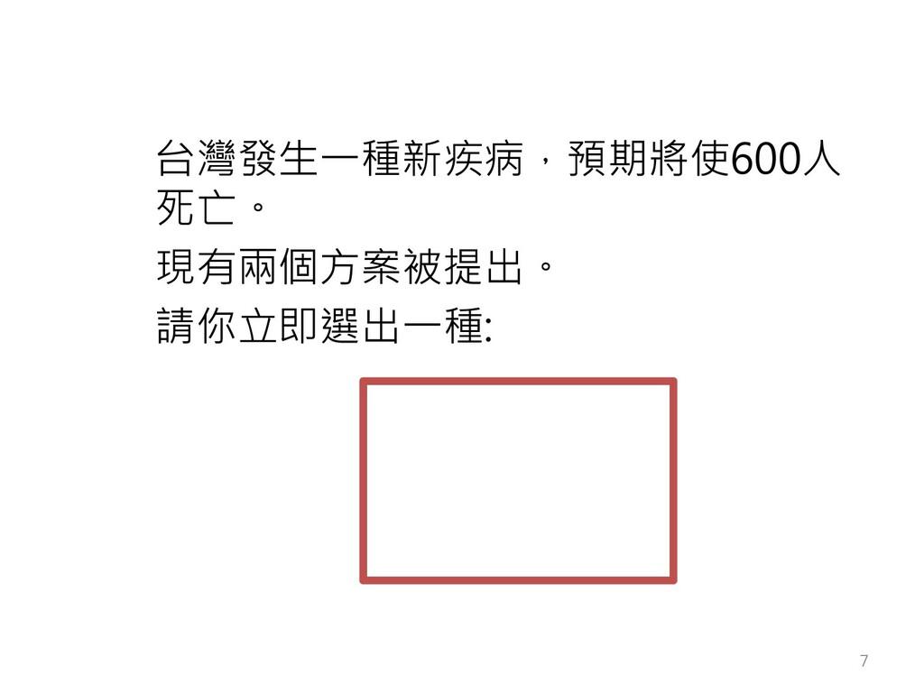 台灣發生一種新疾病,預期將使600人 死亡。 現有兩個方案被提出。 請你立即選出一種: 7