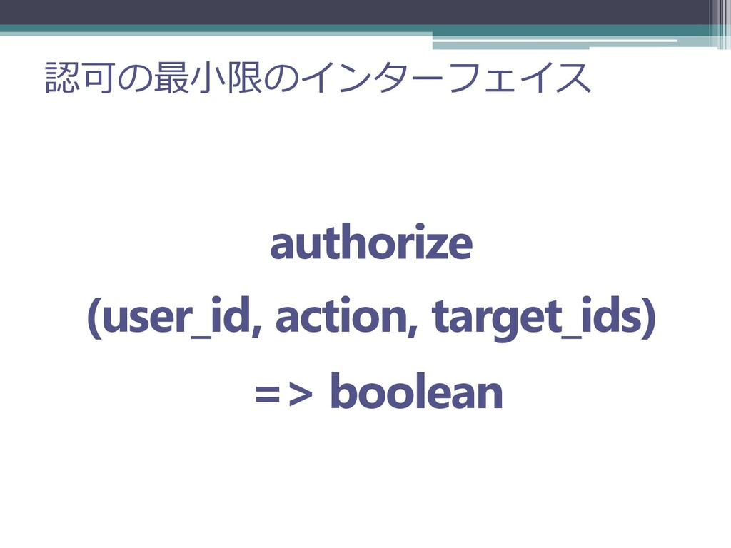認可の最小限のインターフェイス authorize (user_id, action, tar...