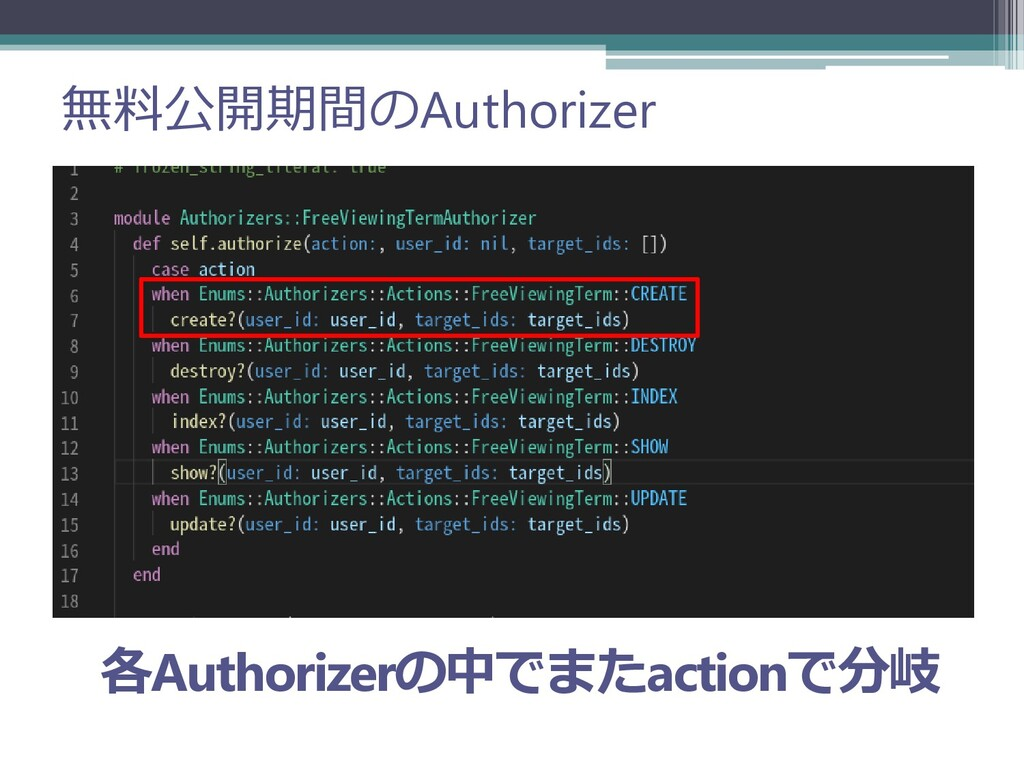 無料公開期間のAuthorizer 各Authorizerの中でまたactionで分岐