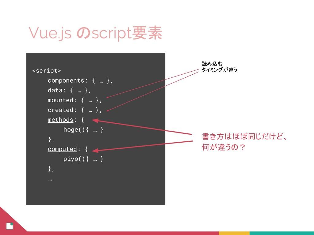 Vue.js のscript要素 <script> components: { … }, da...
