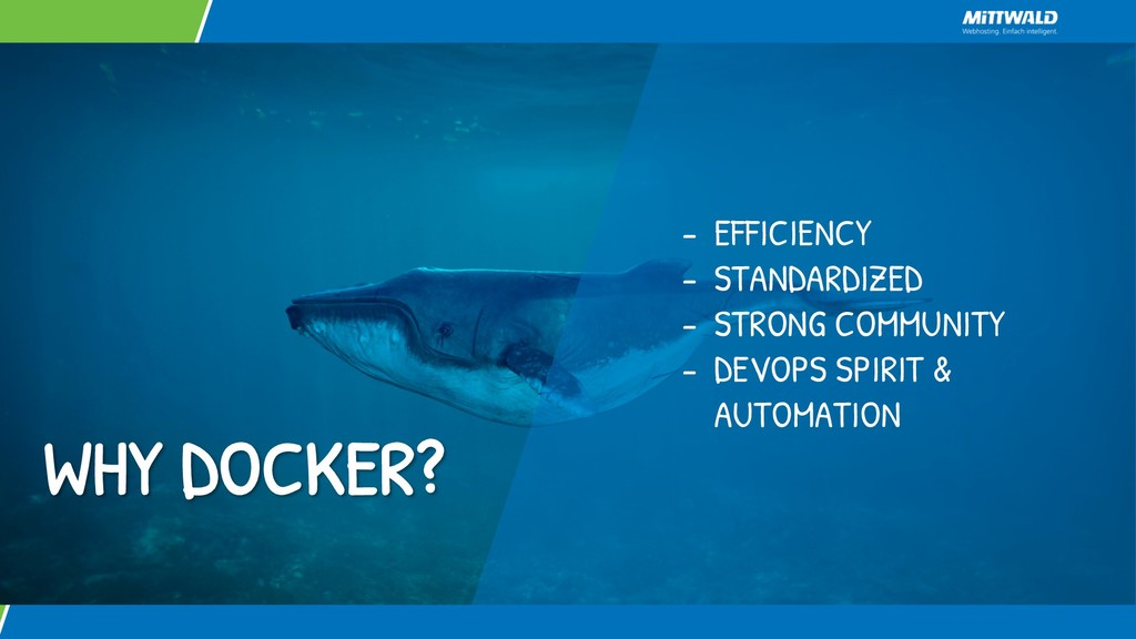 WHY DOCKER? - EFFICIENCY - STANDARDIZED - STRON...