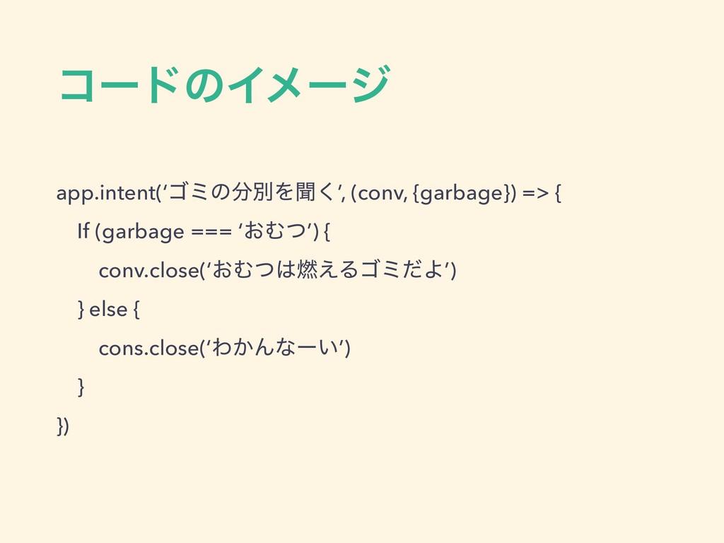 ίʔυͷΠϝʔδ app.intent('ΰϛͷผΛฉ͘', (conv, {garbage...