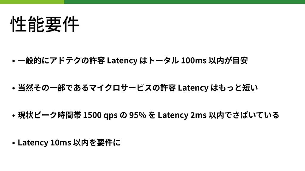 性能要件 • ⼀般的にアドテクの許容 Latency はトータル 100ms 以内が⽬安 • ...