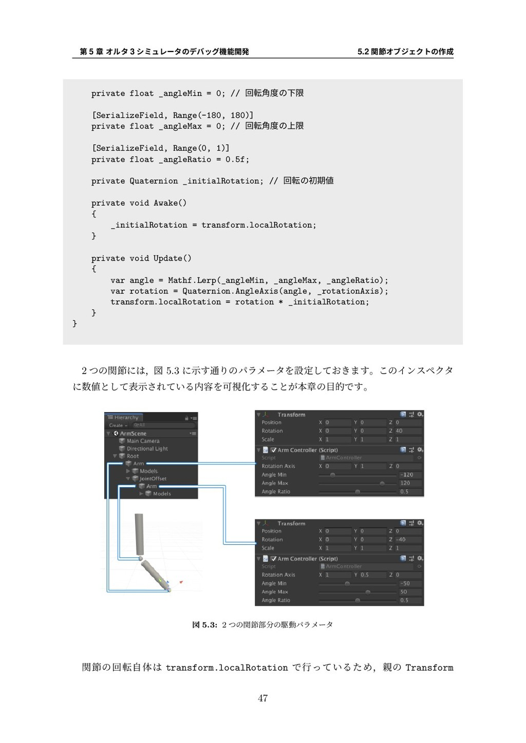 第 5 章 オルタ 3 シミュレータのデバッグ機能開発 5.2 関節オブジェクトの作成 pri...