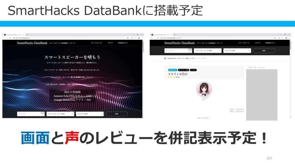 104 画面と声のレビューを併記表示予定! SmartHacks DataBankに搭載予定
