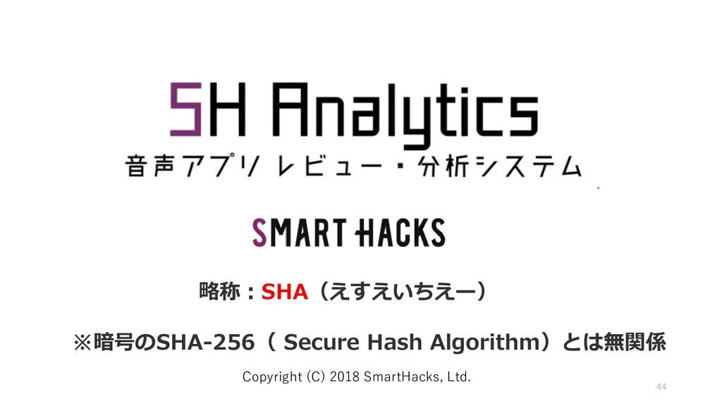 44 Copyright (C) 2018 SmartHacks, Ltd. 略称:SHA(え...