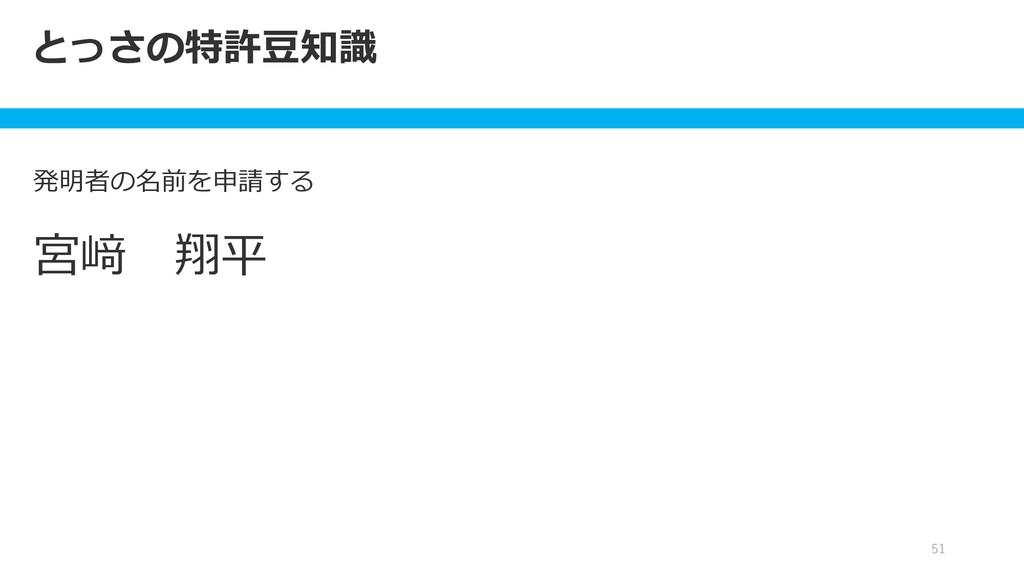 発明者の名前を申請する 51 とっさの特許豆知識 宮﨑 翔平
