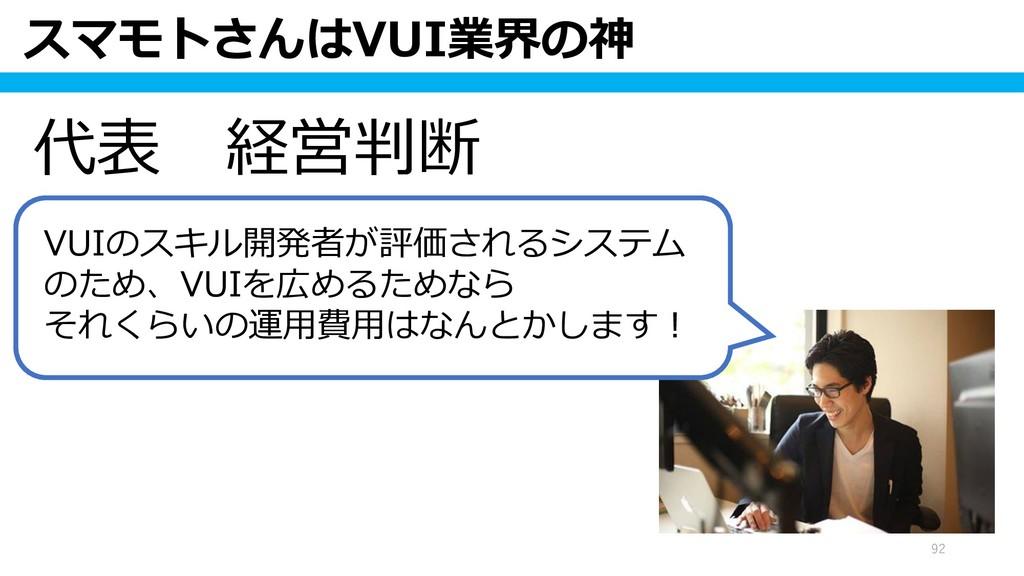 スマモトさんはVUI業界の神 92 代表 経営判断 VUIのスキル開発者が評価されるシステム ...