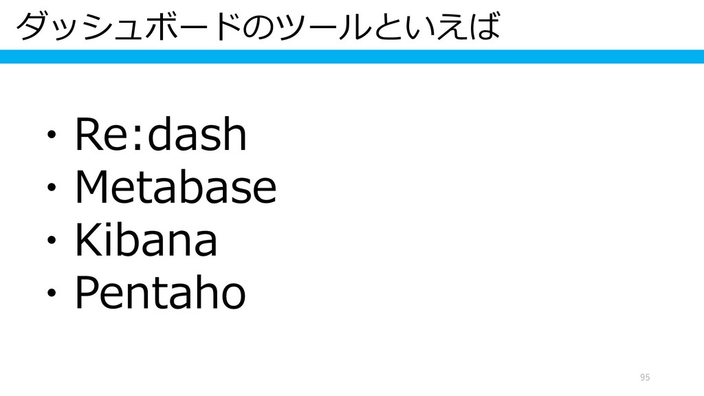 ダッシュボードのツールといえば 95 ・Re:dash ・Metabase ・Kibana ・...