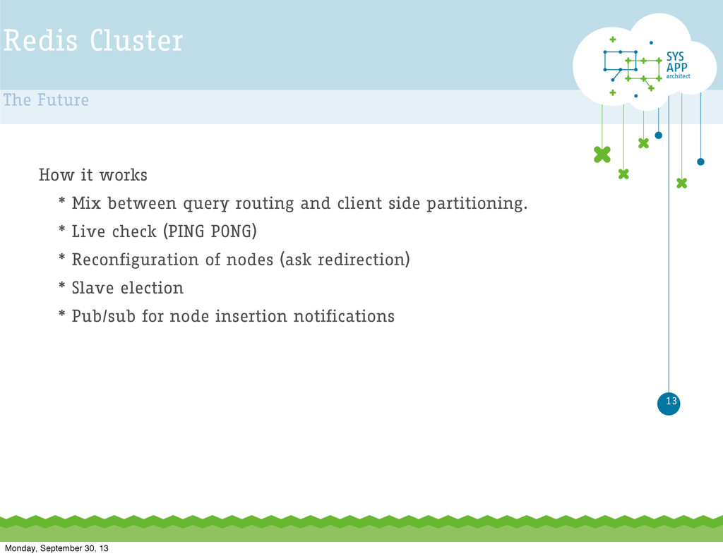 Redis Cluster The Future 13 How it works * Mix ...