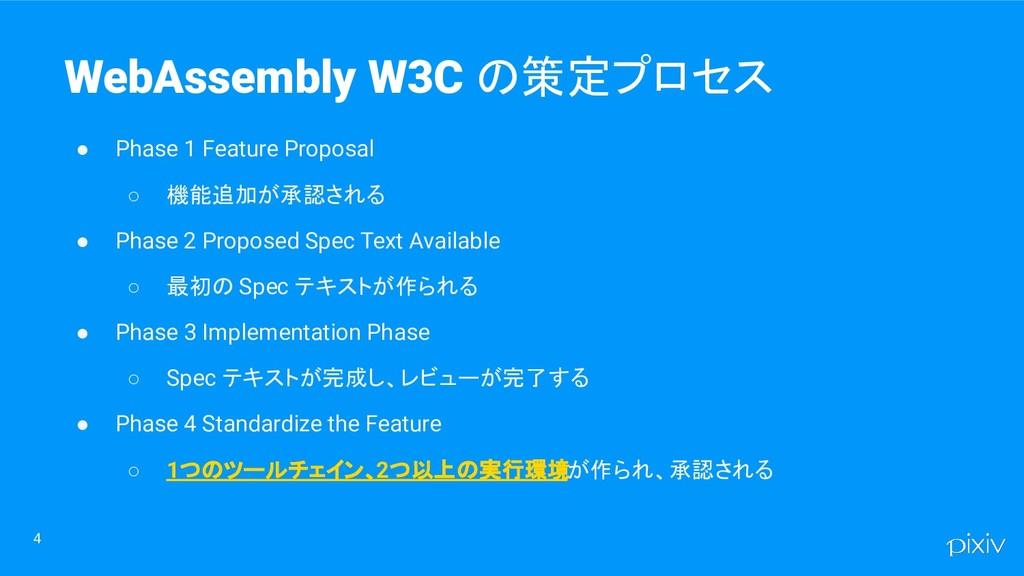 4 WebAssembly W3C の策定プロセス ● Phase 1 Feature Pro...