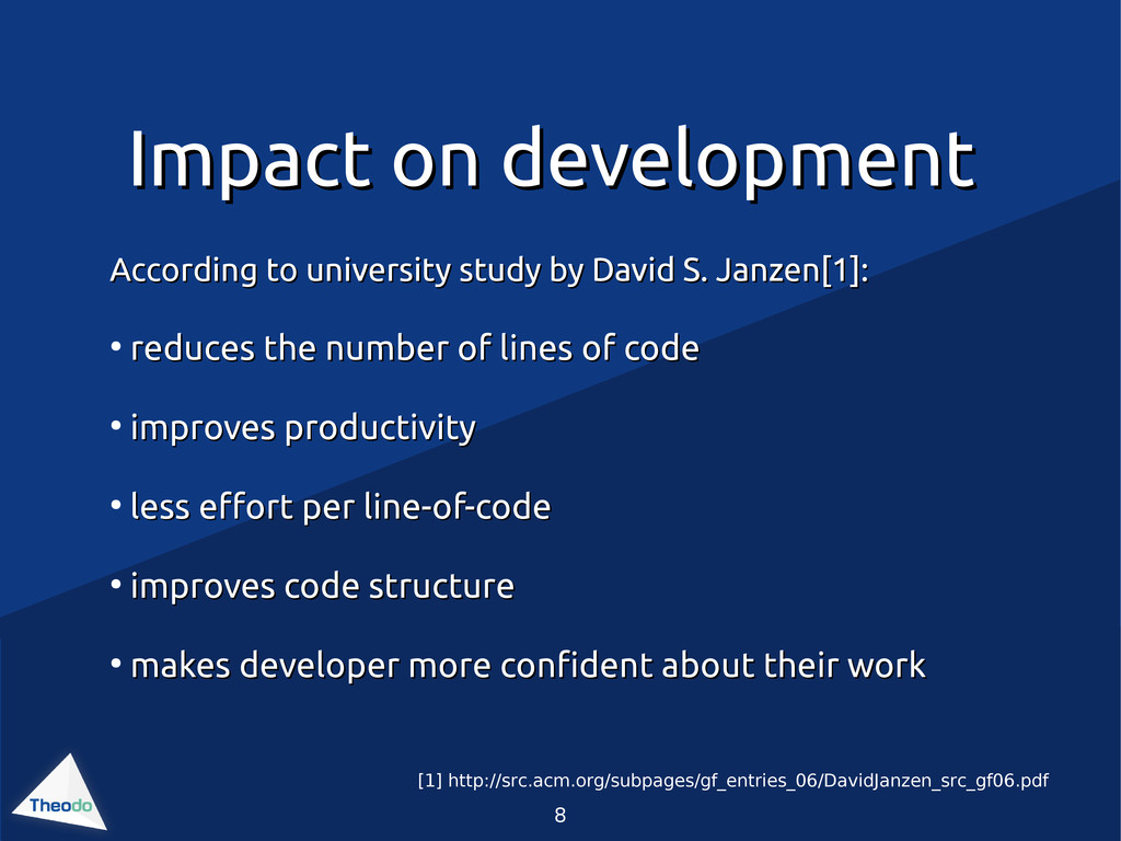 8 Impact on development Impact on development A...