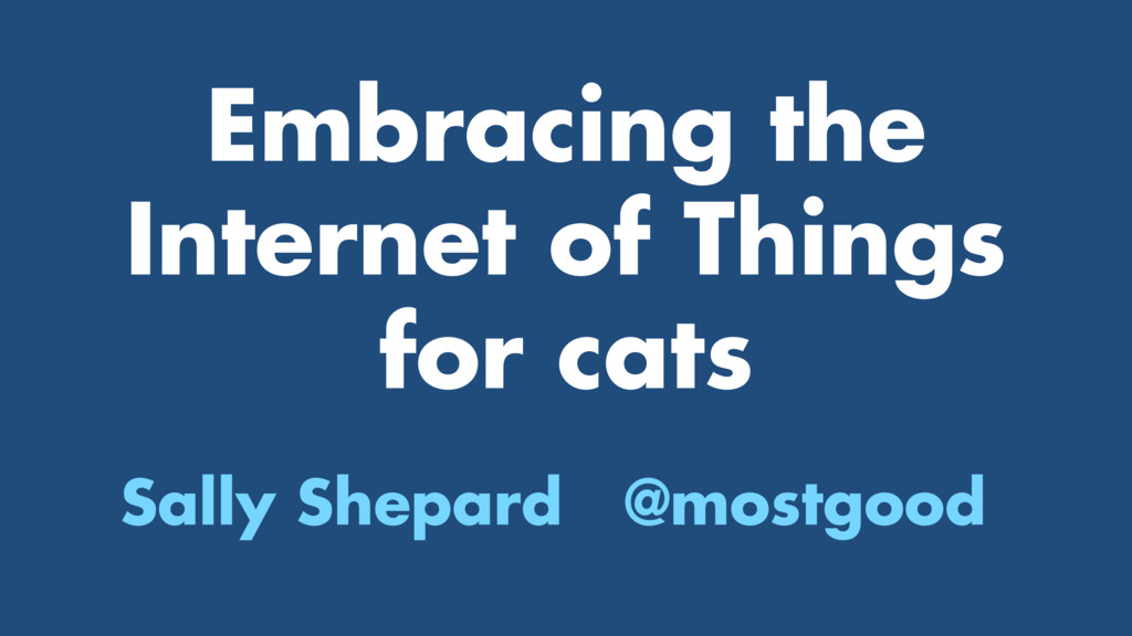 Embracing the Internet of Things for cats Sally...