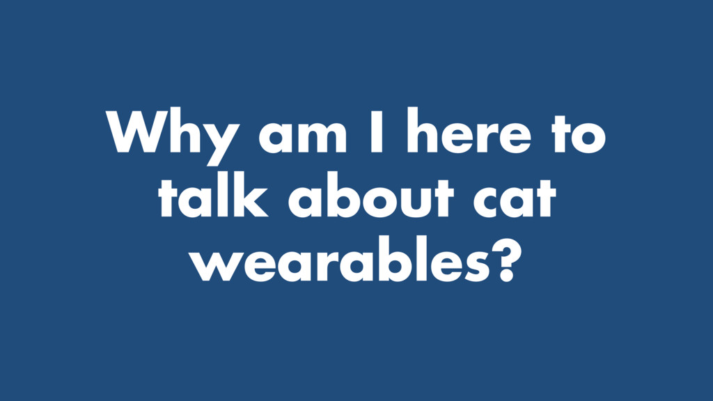 Why am I here to talk about cat wearables?