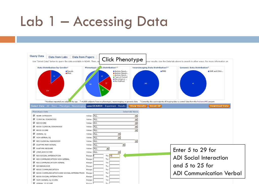 Lab 1 – Accessing Data Click Phenotype Enter 5 ...