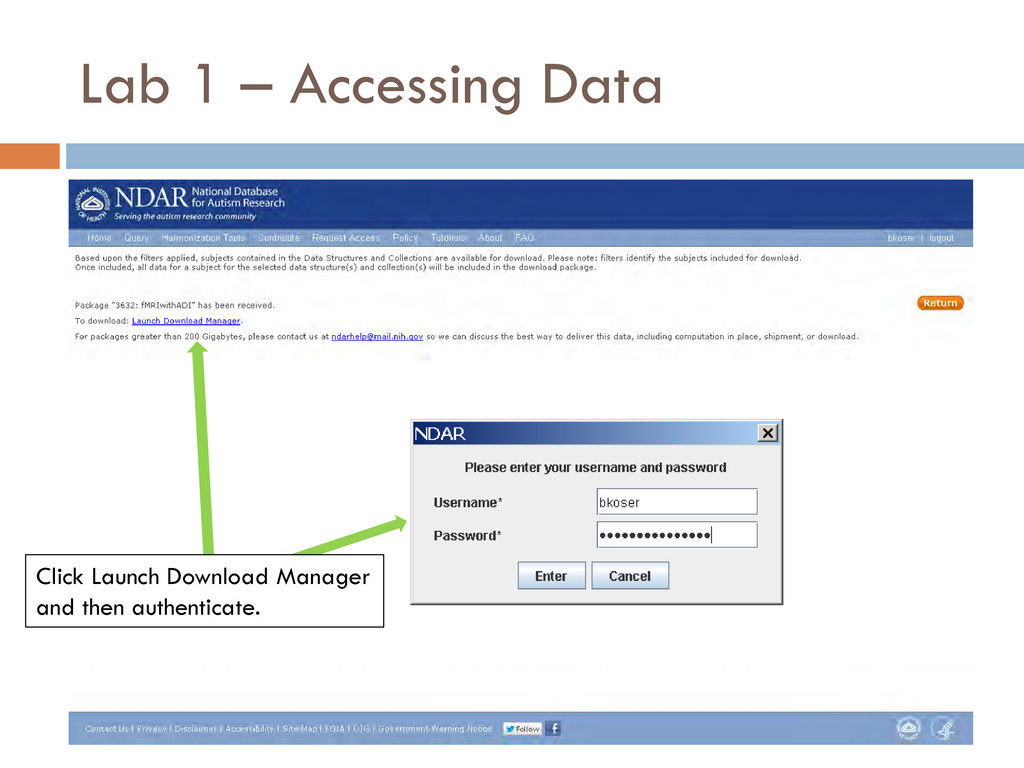 Lab 1 – Accessing Data Click Launch Download Ma...