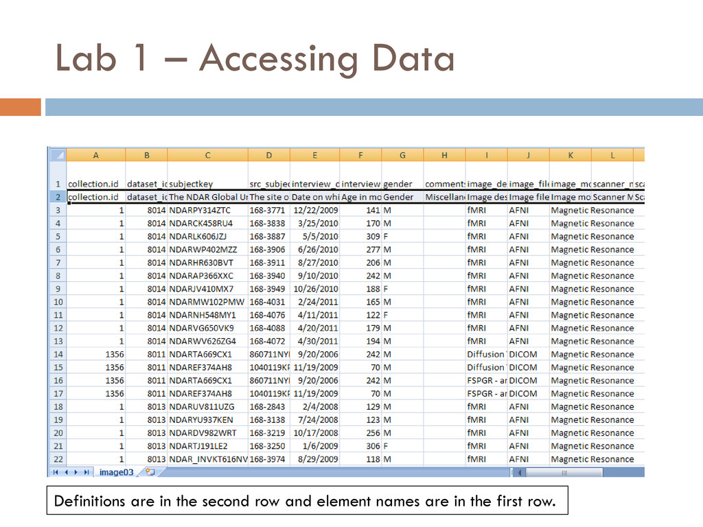 Lab 1 – Accessing Data Definitions are in the s...