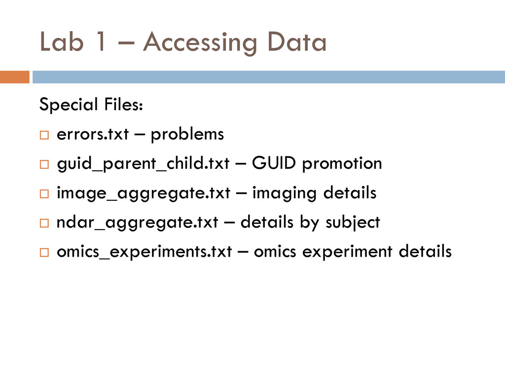 Lab 1 – Accessing Data Special Files:  errors....