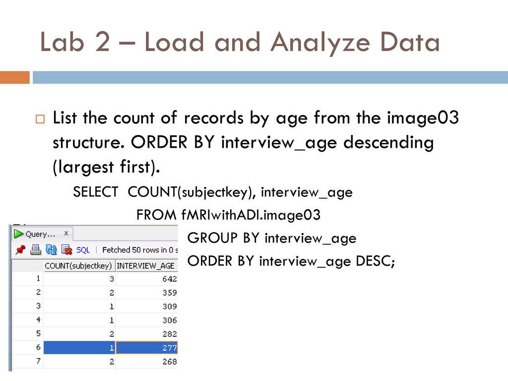 Lab 2 – Load and Analyze Data  List the count ...