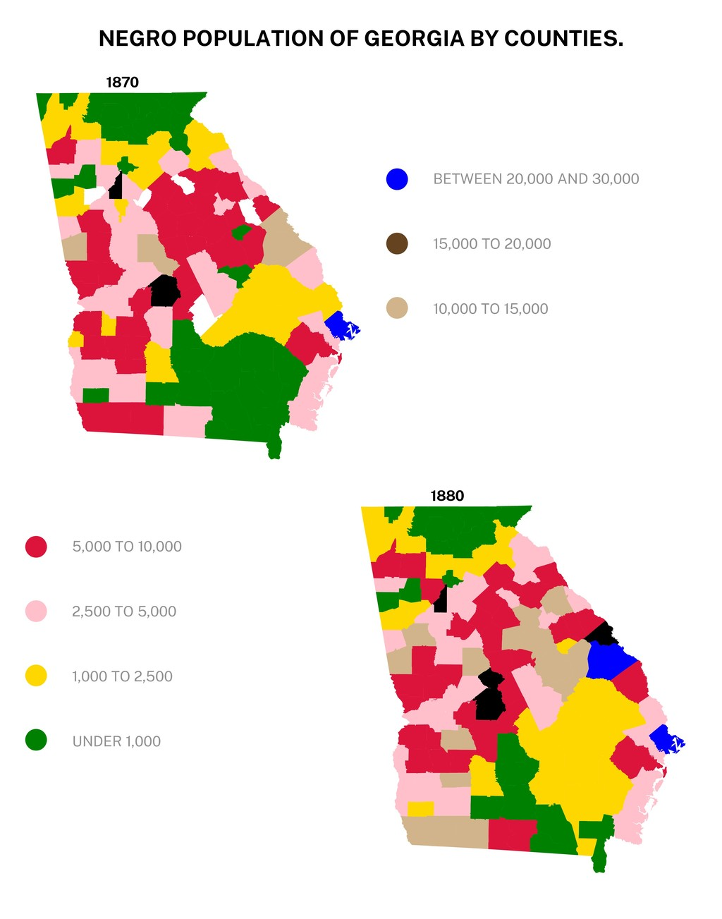 NEGRO POPULATION OF GEORGIA BY COUNTIES. 1870 1...