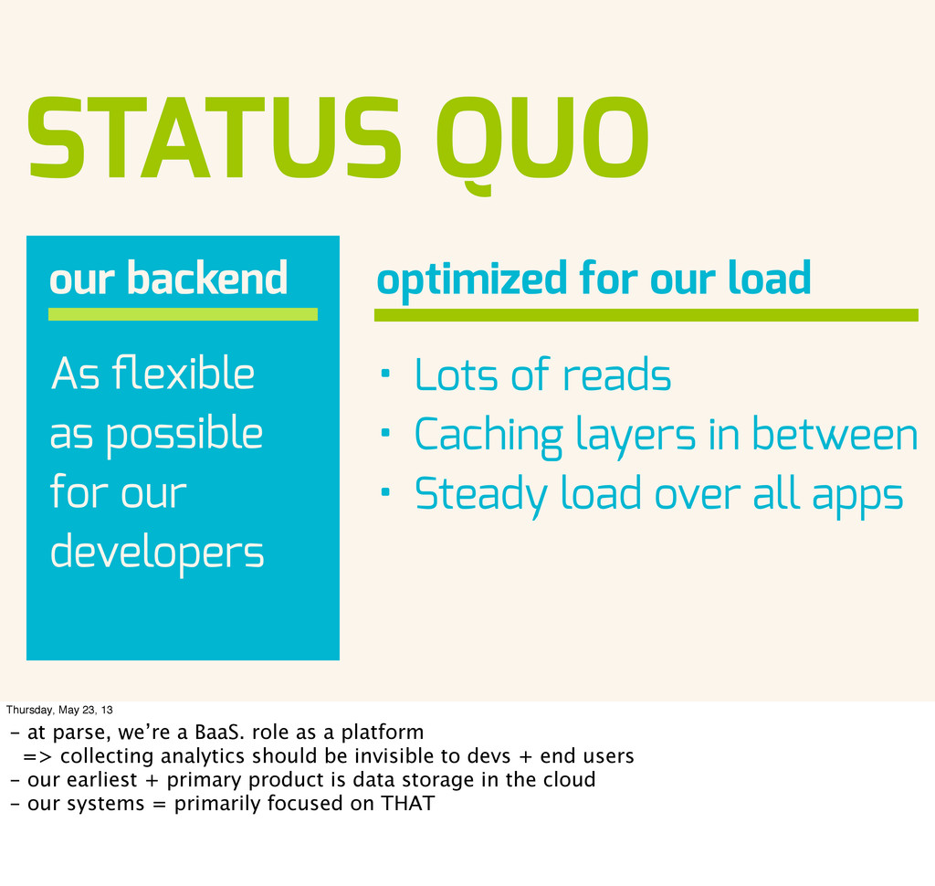 STATUS QUO our backend As flexible as possible f...