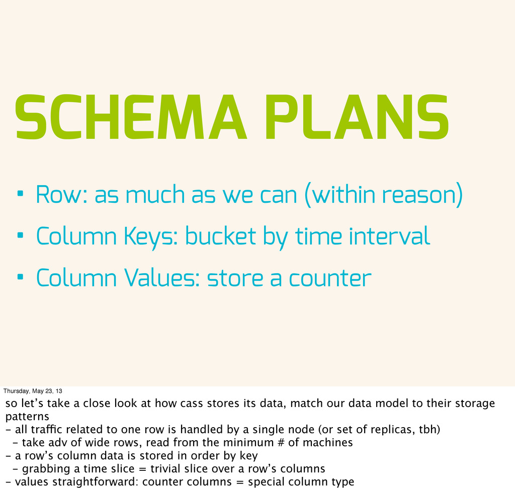 SCHEMA PLANS • Row: as much as we can (within r...