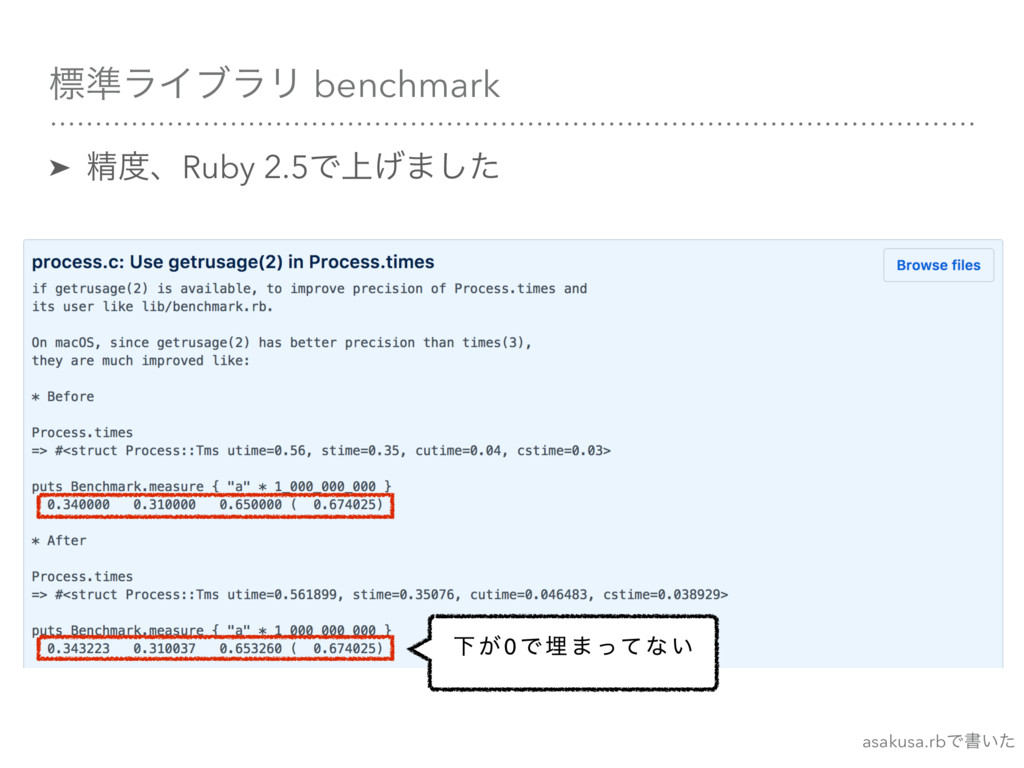ඪ४ϥΠϒϥϦ benchmark ➤ ਫ਼ɺRuby 2.5Ͱ্͛·ͨ͠ Լ ͕ 0 Ͱ ຒ...
