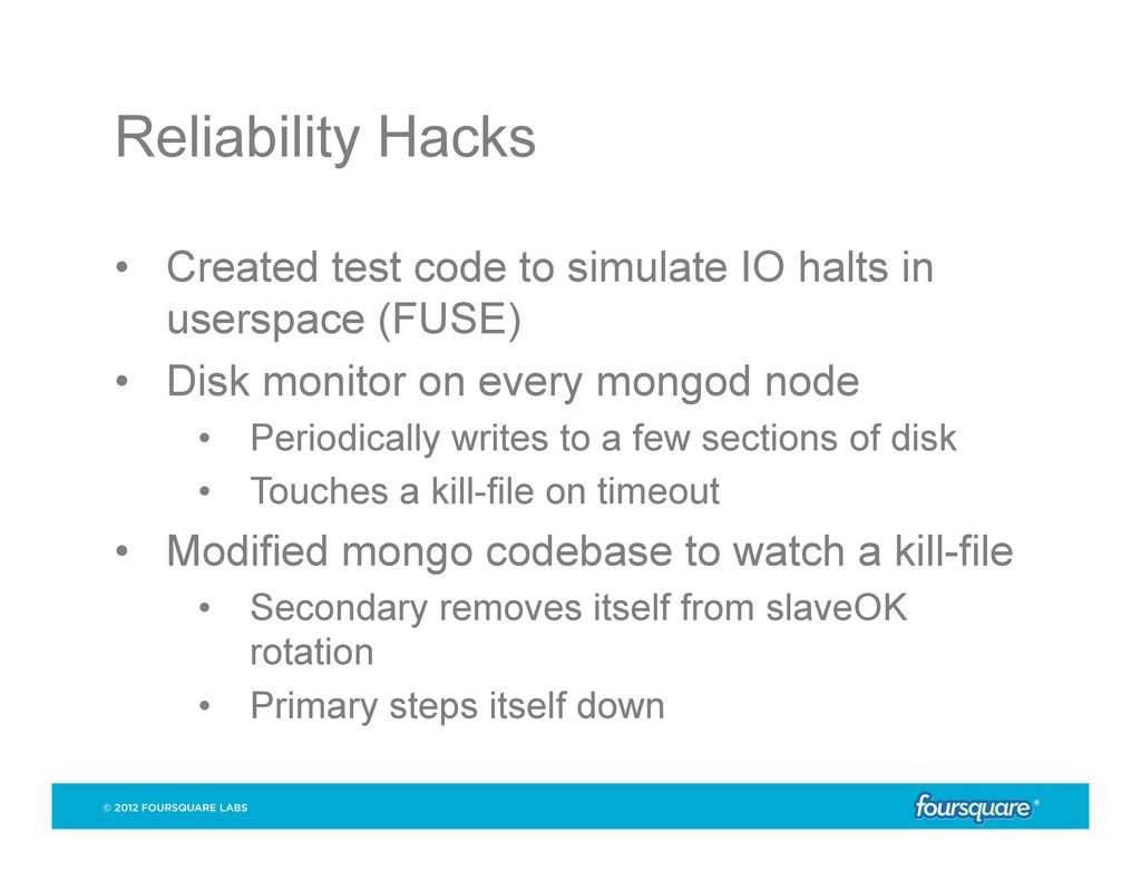 Reliability Hacks • Created test code to simul...