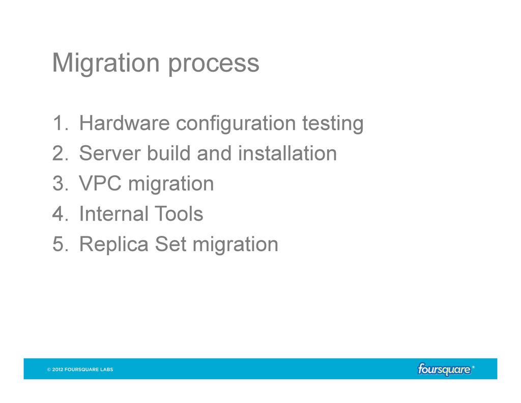 Migration process 1. Hardware configuration te...