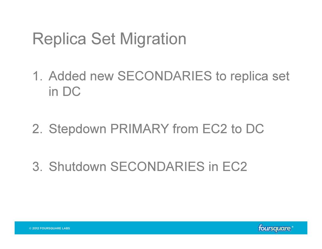 Replica Set Migration 1. Added new SECONDARIES...