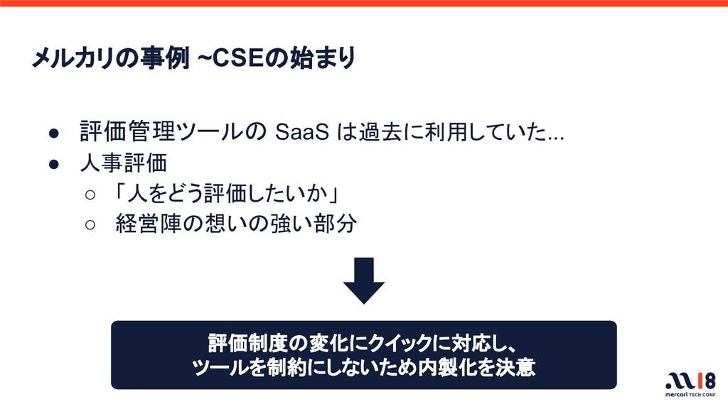 メルカリの事例 ~CSEの始まり ● 評価管理ツールの SaaS は過去に利用していた... ...