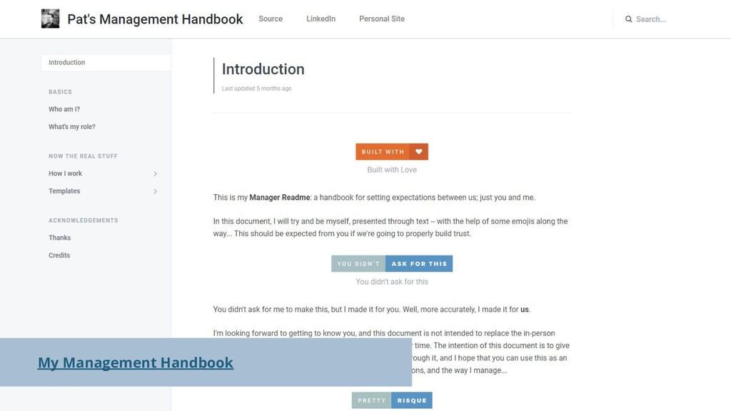 My Management Handbook