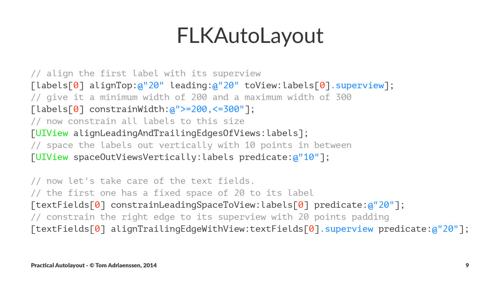 FLKAutoLayout // align the first label with its...