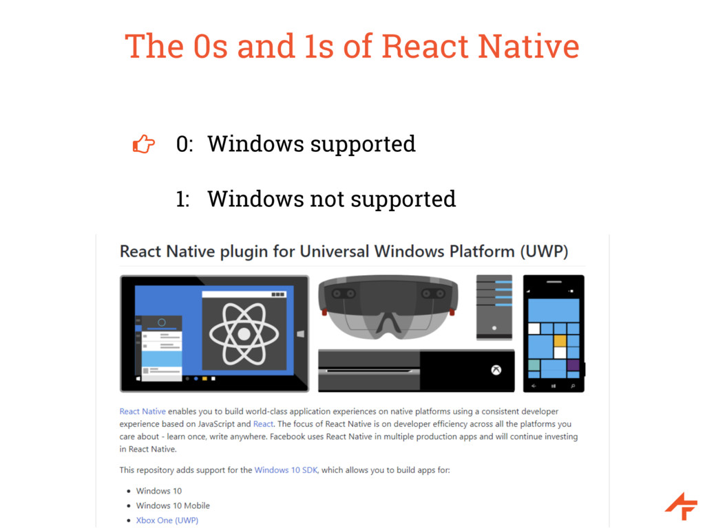 The 0s and 1s of React Native 0: Windows suppor...