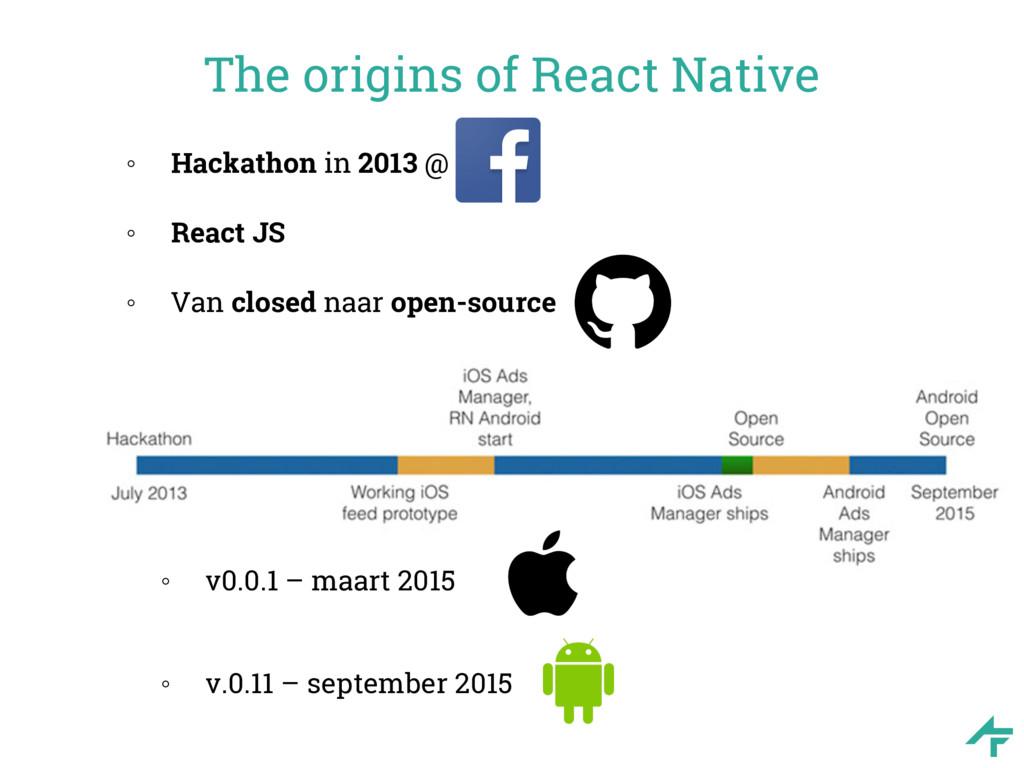 The origins of React Native ◦ Hackathon in 2013...