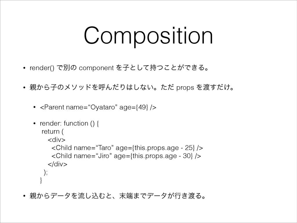 Composition • render() Ͱผͷ component Λࢠͱͯͭ͜͠ͱ͕...