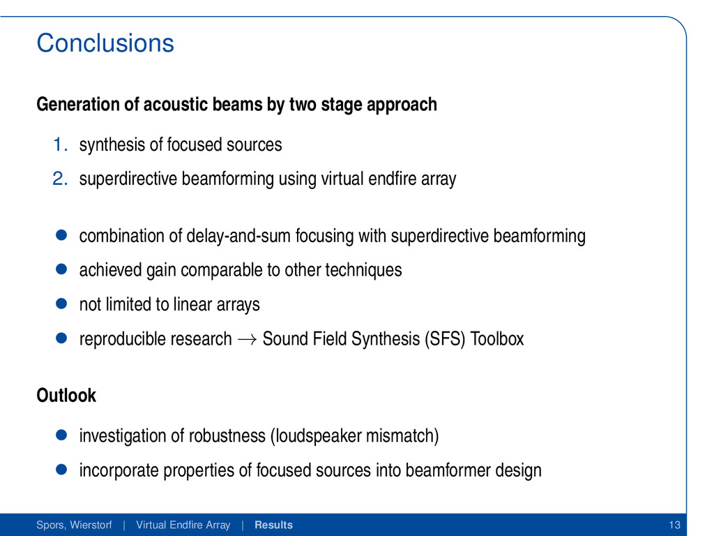 Conclusions Generation of acoustic beams by two...