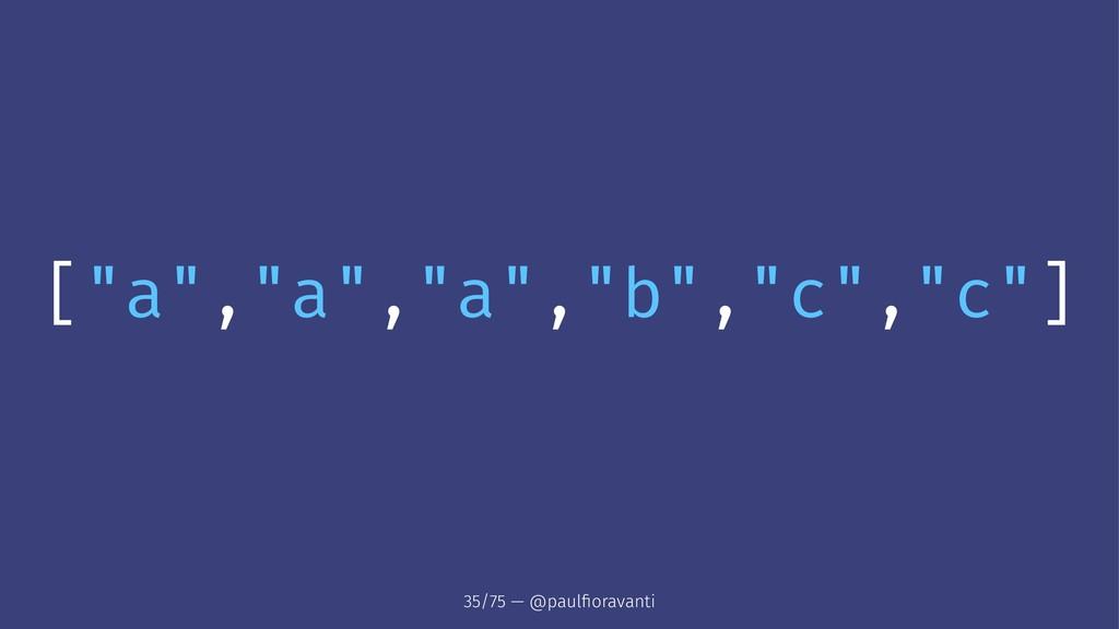 """[""""a"""",""""a"""",""""a"""",""""b"""",""""c"""",""""c""""] 35/75 — @paulfioravanti"""
