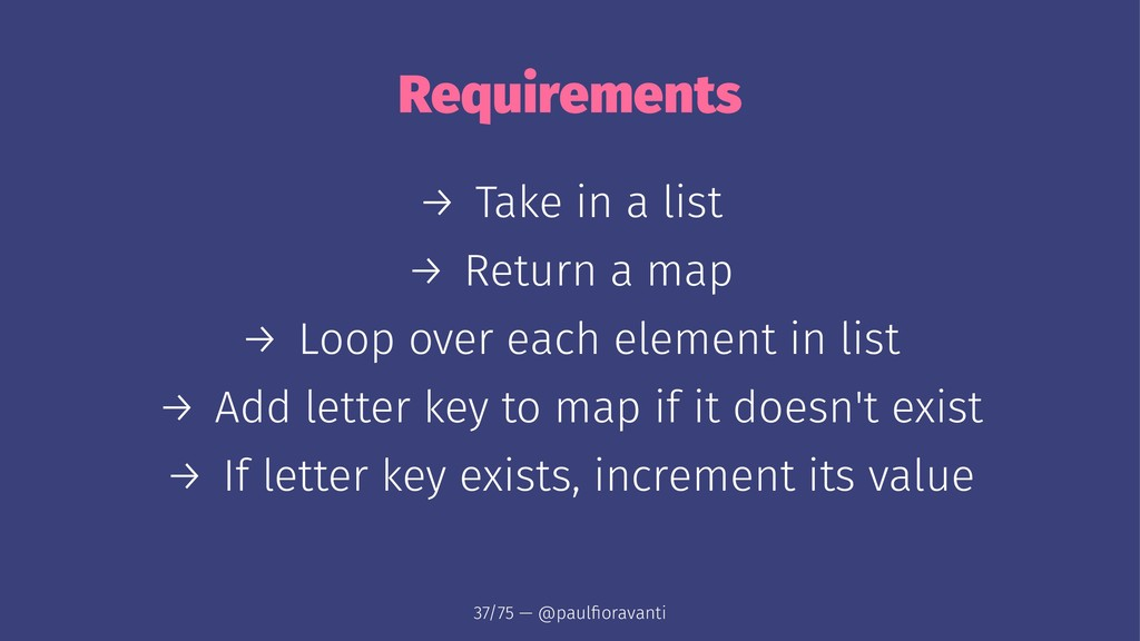 Requirements → Take in a list → Return a map → ...