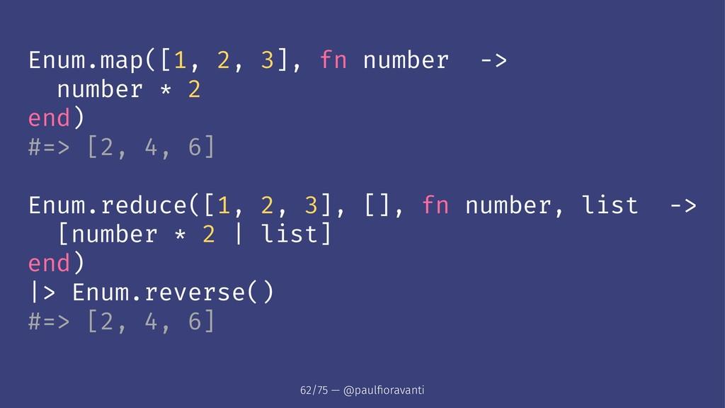 Enum.map([1, 2, 3], fn number -> number * 2 end...