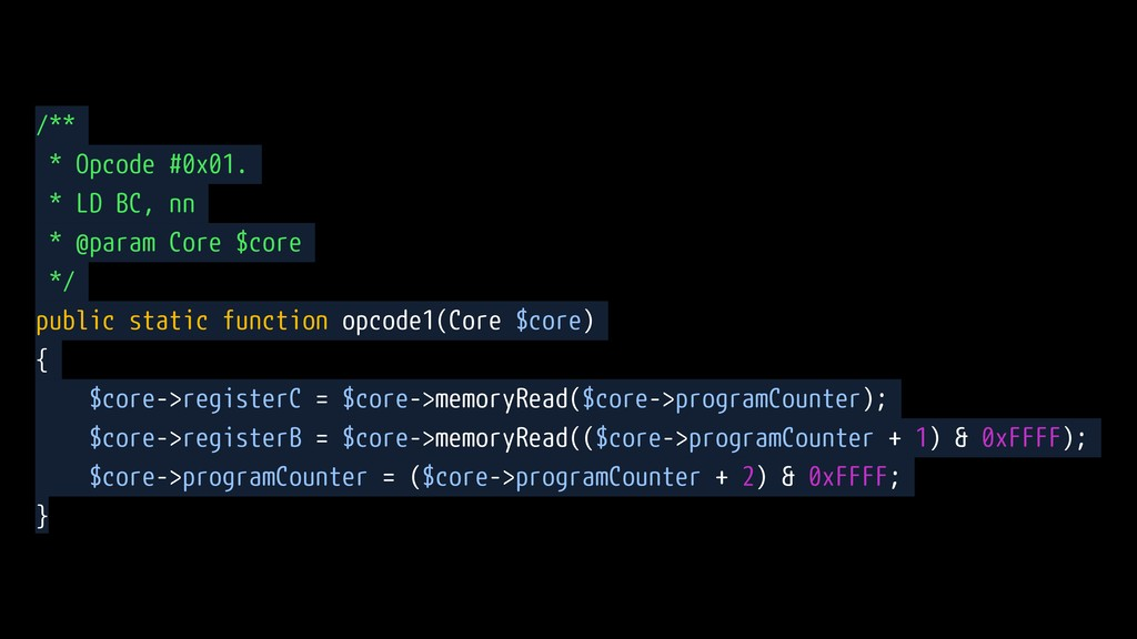 /** * Opcode #0x01. * LD BC, nn * @param Core $...