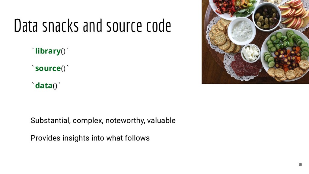 Data snacks and source code `library()` `source...