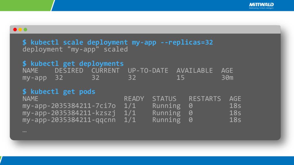 $ kubectl scale deployment my-app --replicas=32...