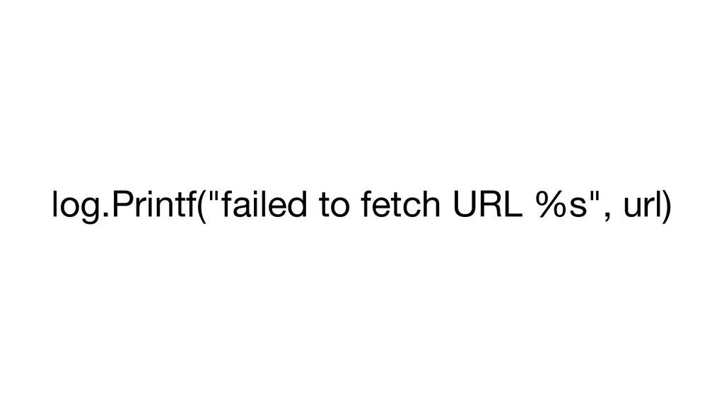 "log.Printf(""failed to fetch URL %s"", url)"