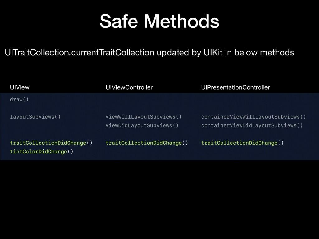 Safe Methods UITraitCollection.currentTraitColl...