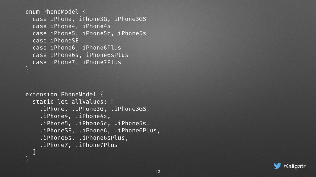 @aligatr extension PhoneModel { static let allV...